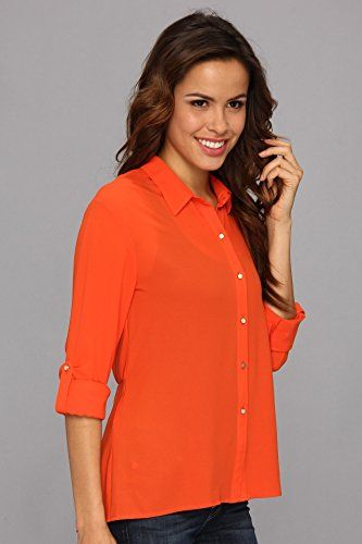 044a2bf69f0 KUT from the Kloth Womens Ellie Top Orange Button-up Shirt XS ...