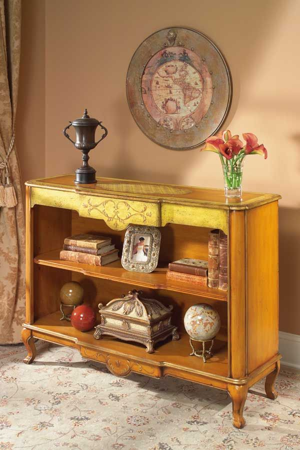 Tuscan Orange Hand Painted Bookcase Butler Painted