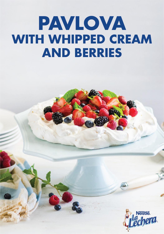 Photo of Pavlova with Sweetened Whipped Cream and Fresh Berries