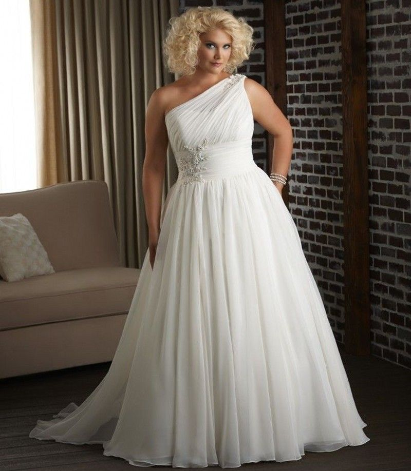 One Shoulder Long Ivory Chiffon Wedding Dress Plus Size Inexpensive ...