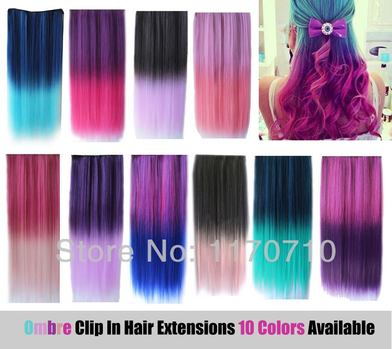 Cheap Synthetic Clip In Ombre Colorful Hair Extensions Straight One