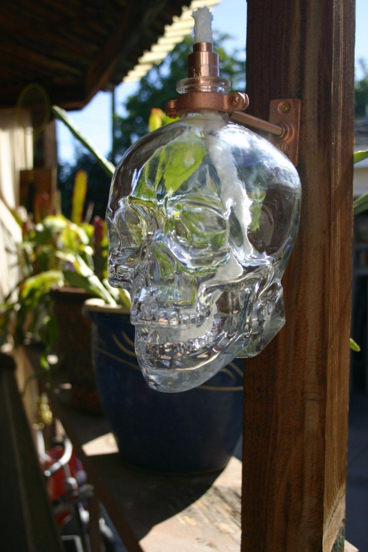 Crystal Head Vodka Tiki Torch Oil Lamp including bottle