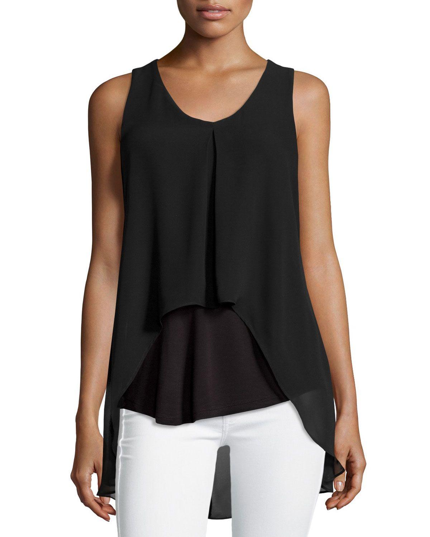 Neiman Marcus Chiffon-Overlay V-Neck Tank, Black, Women's, Size: L