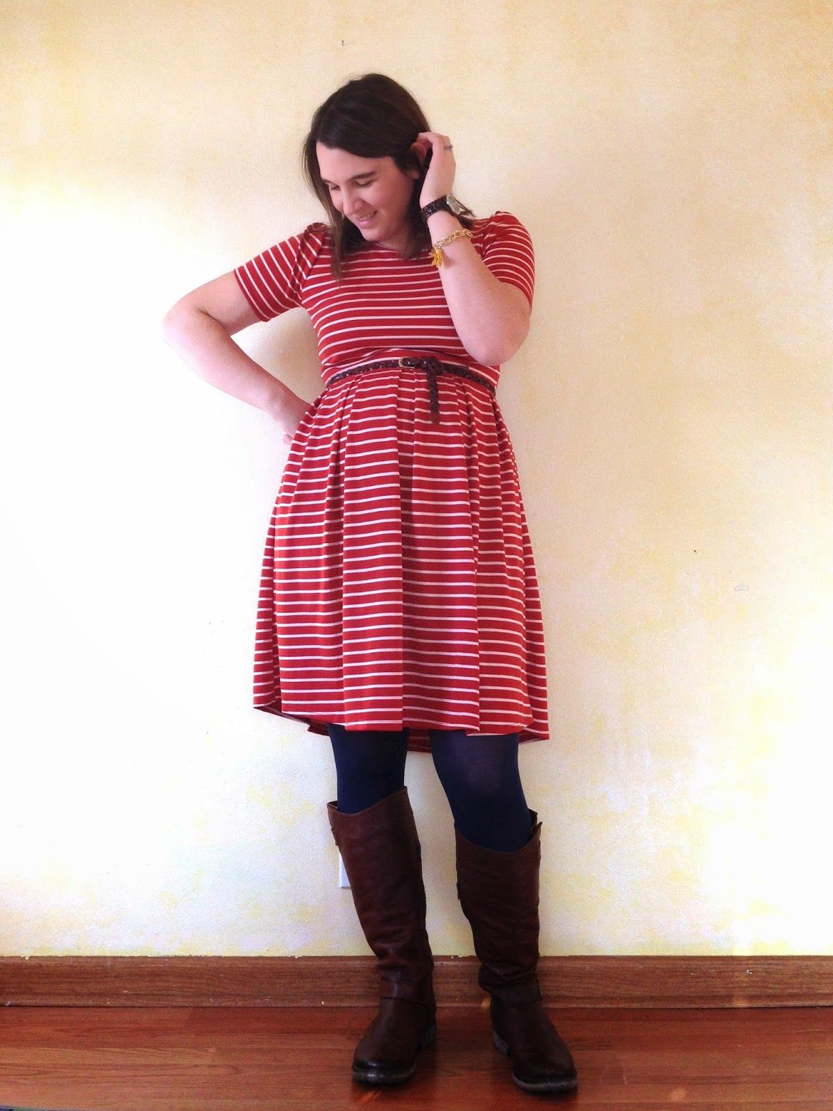 40c426377 bybmg  LuLaRoe Amelia dress - red striped dress with navy tights and riding  boots