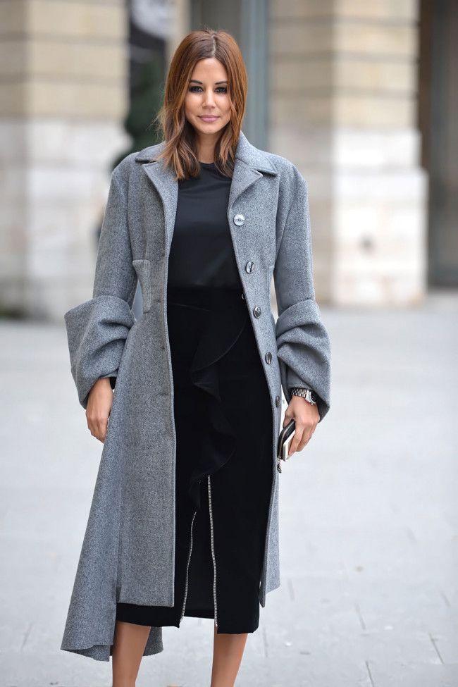 Christine Centenera, Prada coat, Josh Goot T-shirt, Givenchy skirt, Dior Homme watch.