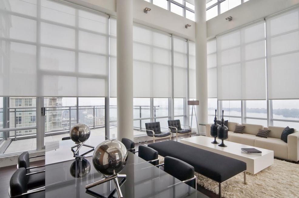 Penthouse Window Treatments Living Room Modern Window