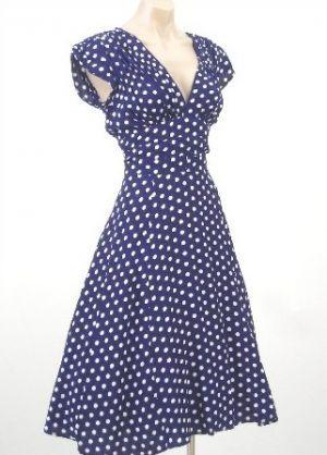 40s Style Navy White Polka Dot Swing Dress from bluevelvetvintage.com.jpg