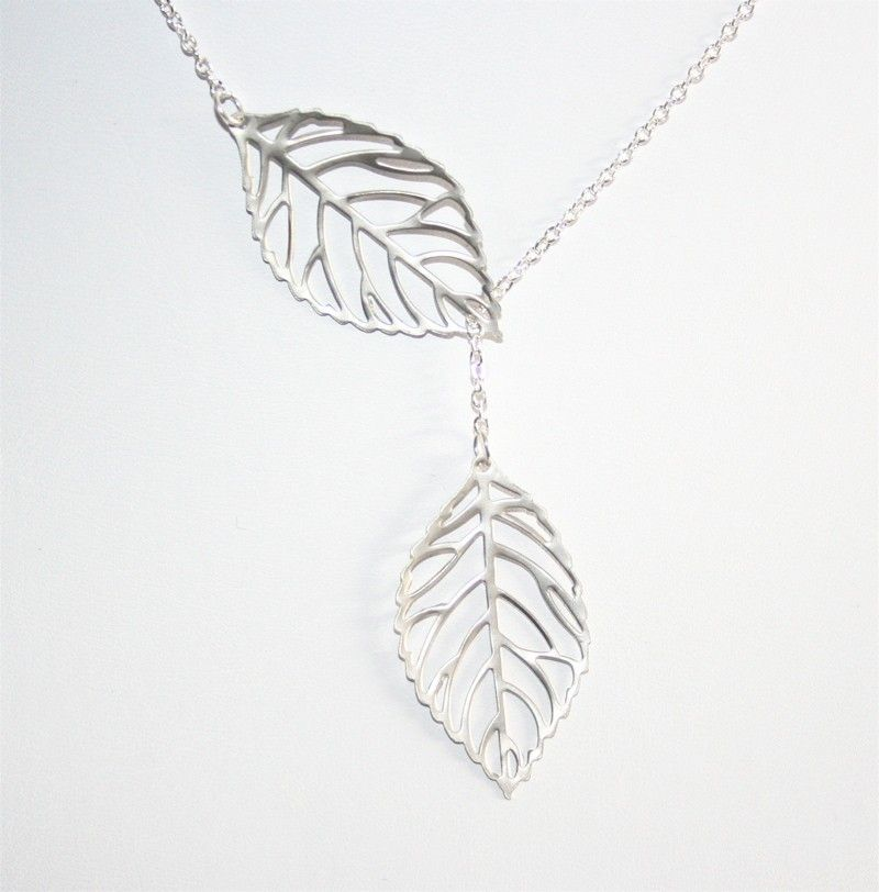 Leaf Necklace, Lariat necklace, Two Leaves, Sterling silver chain available, Great gift, Everyda Jewelry. $17,00, via Etsy.