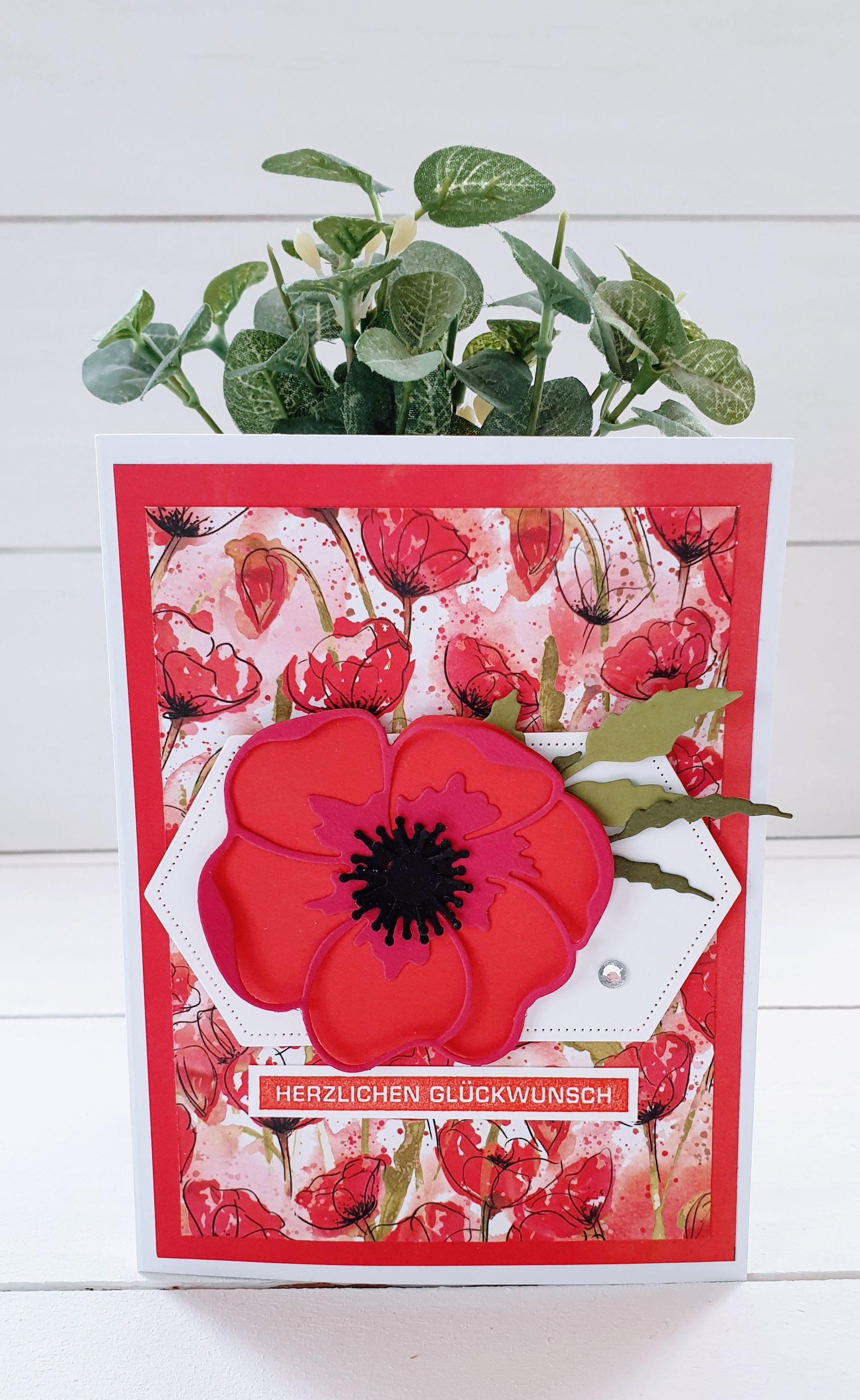 Happy Birthday Alles Im Block Stampin Up Blutorange In 2020 Happy Birthday Karte Basteln Mit Papier Kreativ Basteln