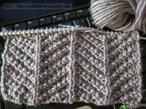 Knit Purl Combinations Create Herringbone Pattern http ...