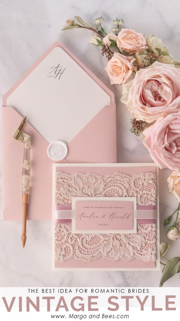 Invitaciones de boda personalizadas invitaciones de encaje vintage 01 / lacer / z