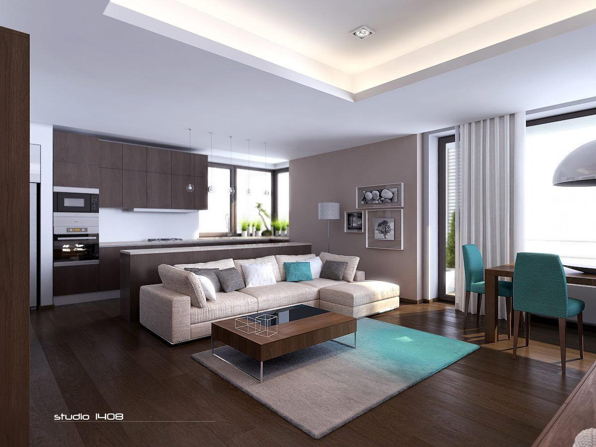 The Dark Wood Contrasting With Neutral Paint Colors Really Warms Up This Minimalist Apartment Modern DecorLiving Room