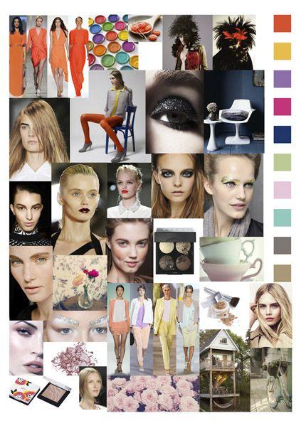 Moodboard met de trends van dit voorjaar!    - Tangerine Tango! Kleur van het jaar 2012  - Extreme Smokey Eyes  - Metallics  - Zware Wenkbrauwen  - Heftige Lippen  - Pastels  - Humidity Skin