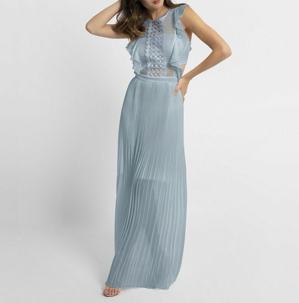 APART Plisseekleid Abendkleid Spitze Maxikleid Damenkleid