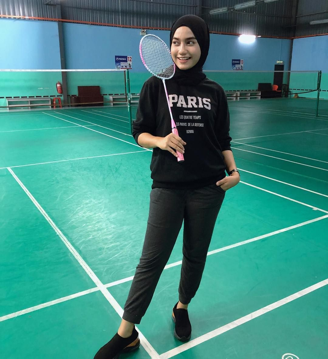 Image May Contain 1 Person Playing A Sport Wanita Badminton Ootd