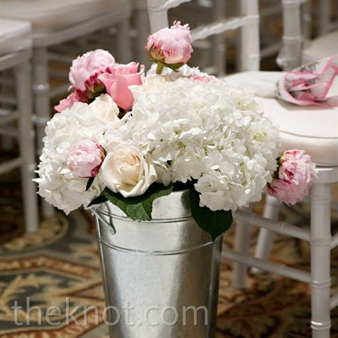 Galvanized buckets with pink white flowers for the aisle galvanized buckets with pink white flowers for the aisle mightylinksfo Gallery