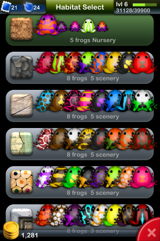 Pocket Frogs / By NimbleBit LLC  This UI is very clean and uncluttered given the total variety of items. The color scheme keeps the sections separate and fits in with the whole UI.