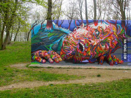 Graffiti that blends into its surroundings.