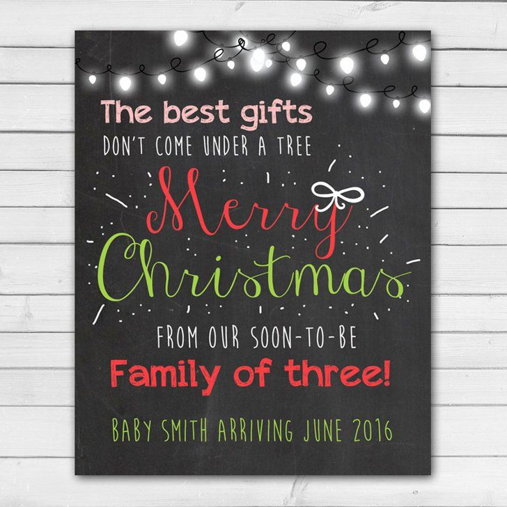 Christmas Chalkboard Pregnancy Announcement Card | Chalkboard ...