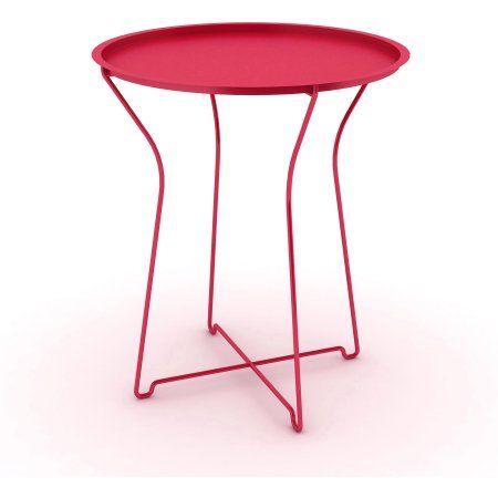 Atlantic Furniture Metal Portable Round Side Table Red Metal