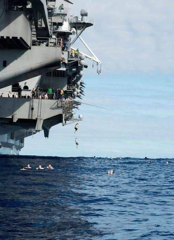A Karvaly Toke Man Overboard Nah Just A Day Off At A Carrier In 2020 Navy Carriers Navy Aircraft Carrier Us Navy Ships