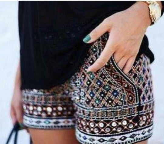 Bling patterned shorts