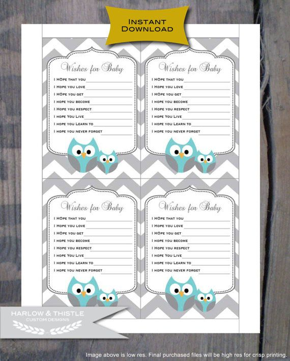 Instant Download Printable Baby Shower Wishes For Baby