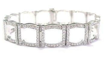 Tiffany & Co. Tiffany Co Platinum 324 Round Diamond Square Bracelet