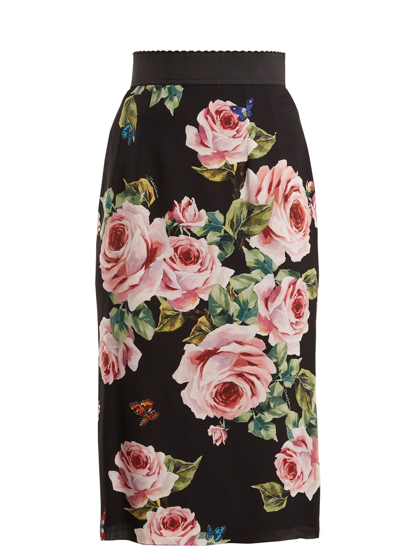 7d5c4afc5a Click here to buy Dolce & Gabbana Rose-print stretch-silk skirt at  MATCHESFASHION.COM