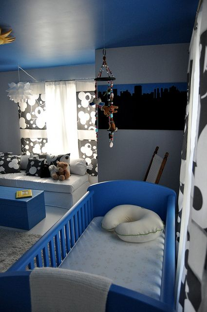 black, white and blue (Blue color matched from the blue Ikea crib)