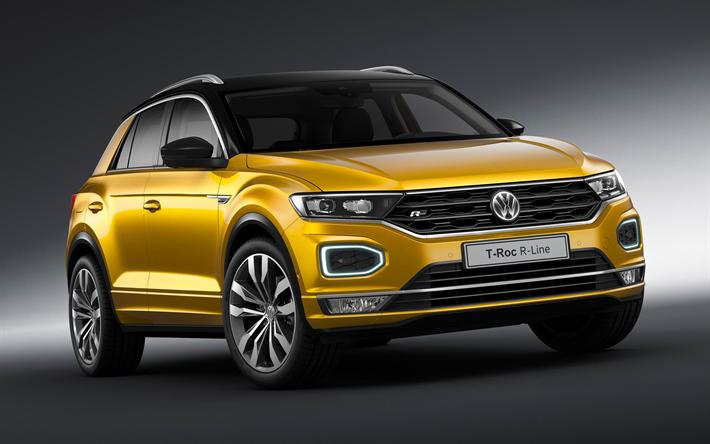 Download Wallpapers Volkswagen T Roc R Line 2018 Cars Crossovers New T Roc Vw Volkswagen Besthqwallpapers Com Volkswagen Suv Compact Suv