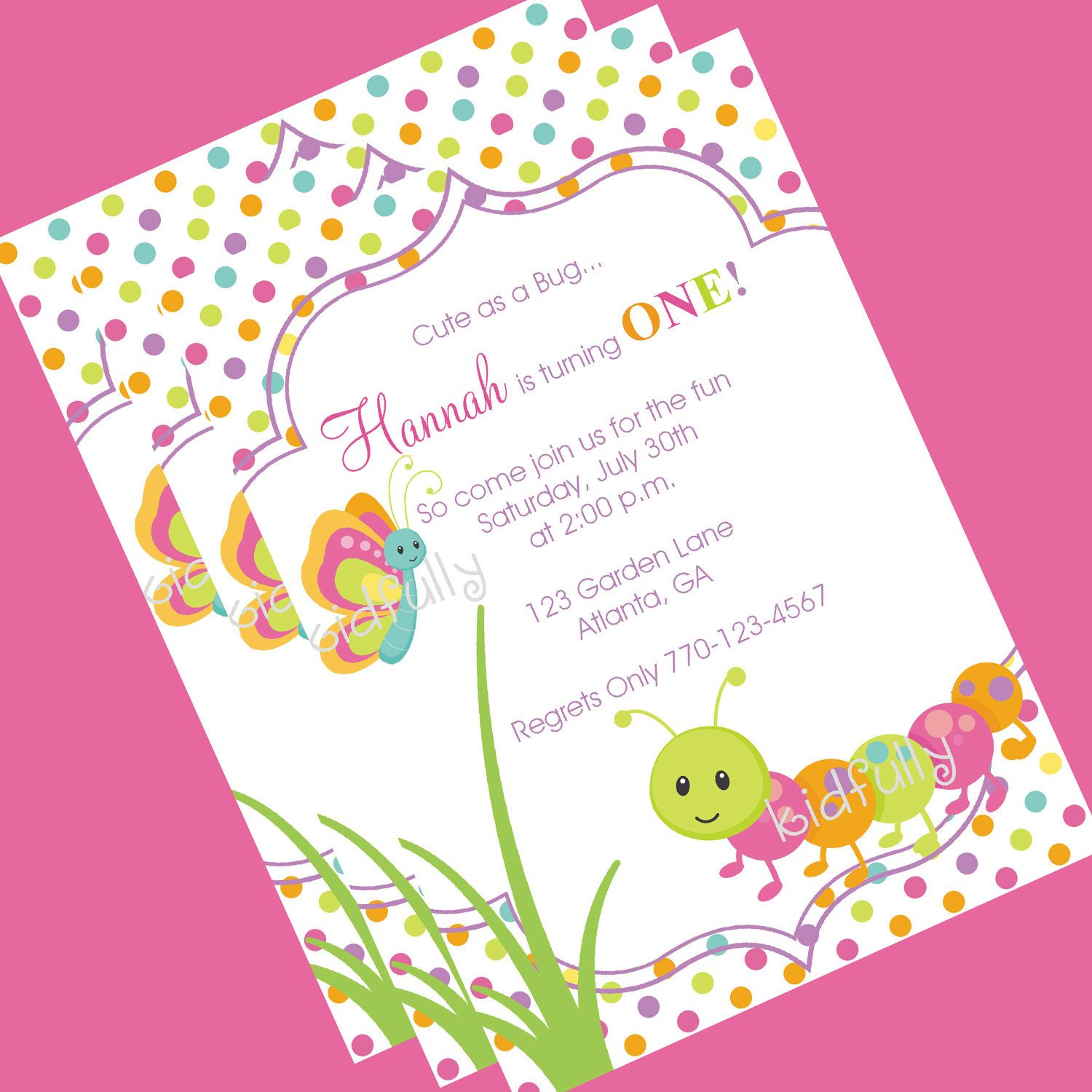 Cute Bugs Caterpillar Butterfly Birthday Invitation by The Party ...