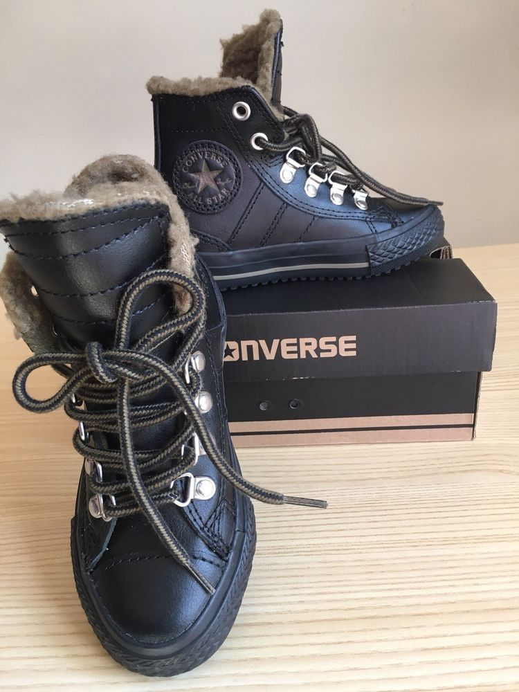 Boys Converse All Stars Leather high top Winter Boot Black