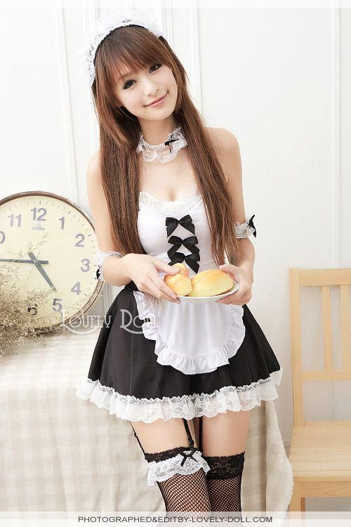 maid idol cosplay Asian teen