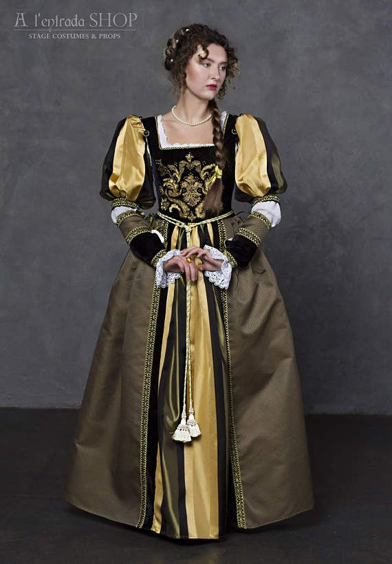 2d28f80e52c Renaissance dress in black with olive colors early 16th century women dress.  Italian fashion gown.