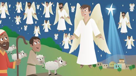 Angels appear to the shepherds to tell them about the