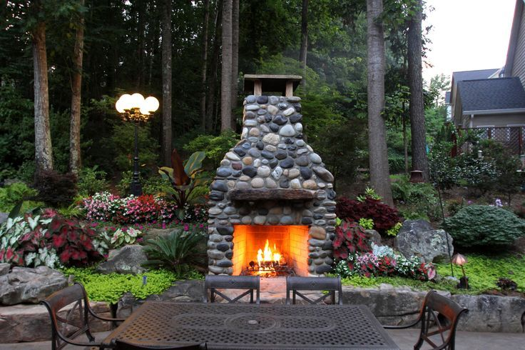 Fireplaces Made From River Rock Outdoor Fireplace Made With