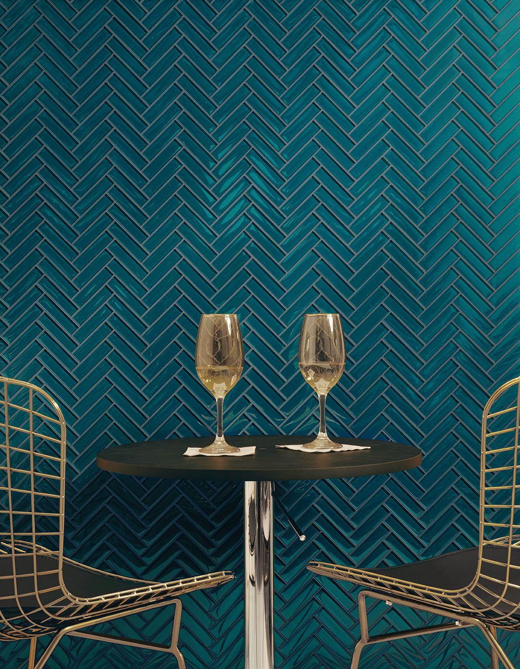 AKDO Tile Herringbone in Lagoon. Tile Wall. Blue Tile. Herringbone ...