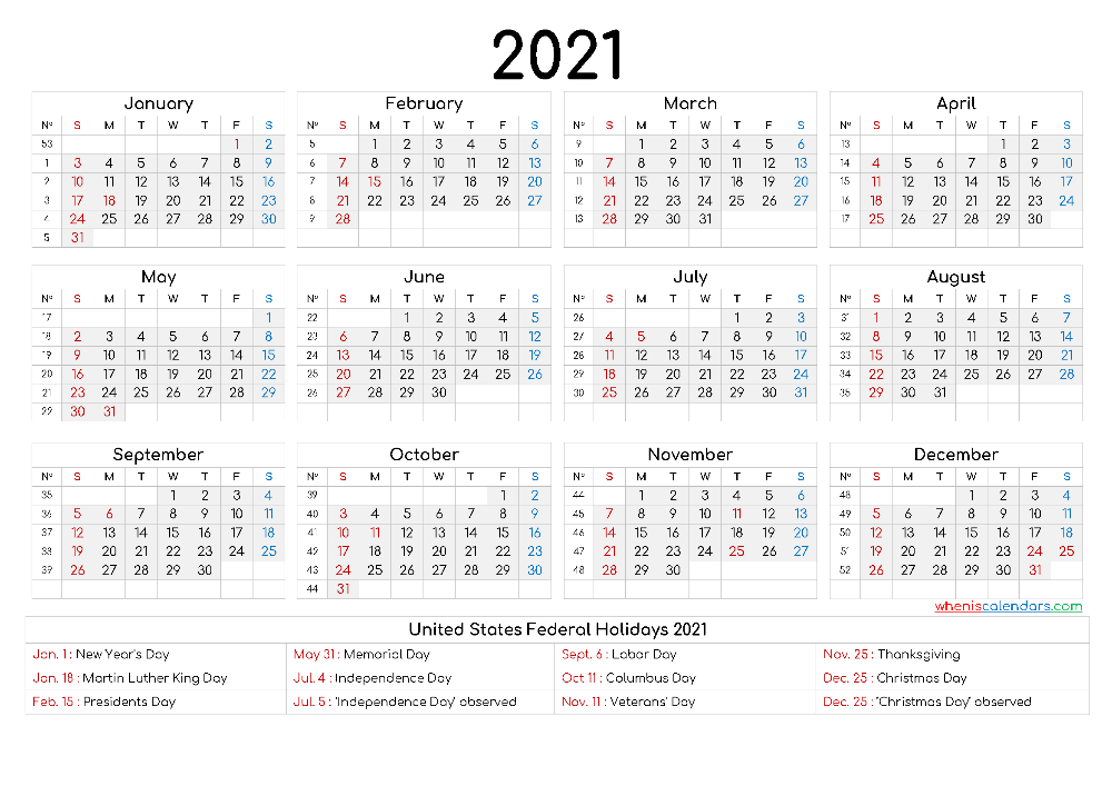 Printable Calendar 2021 Free - 12 Templates - Free ...