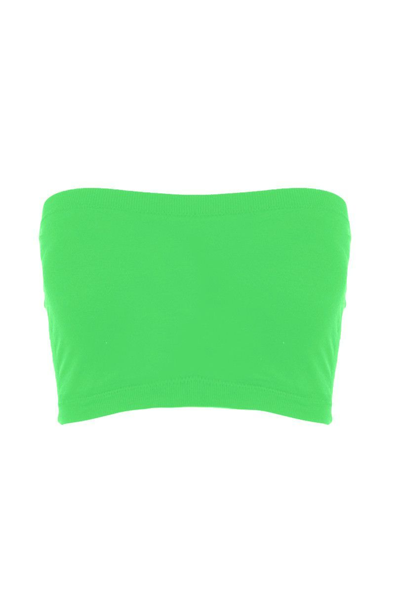 2a8d257a77231 Seamless Crop Tube Top Neon Green