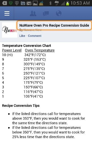 NUWAVE Temperature Conversion Chart NuWave Cooking Pinterest