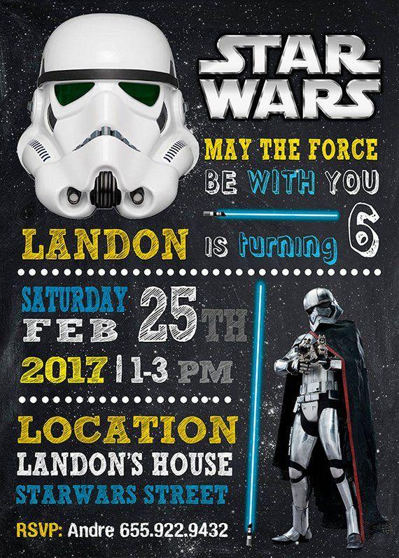 Star Wars Invitation Star Wars Birthday Star Wars Star Wars