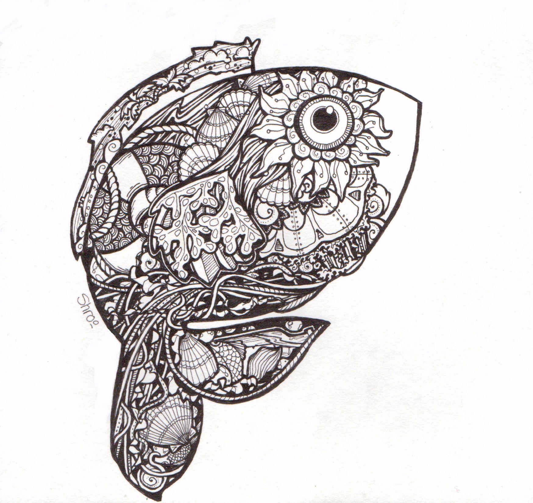 Felix murillo lleno de colores painting acrylic artwork fish art - Pen Ink Zentangle Ish Doodle Of A Fish In My Teeny Tiny Sketchbook