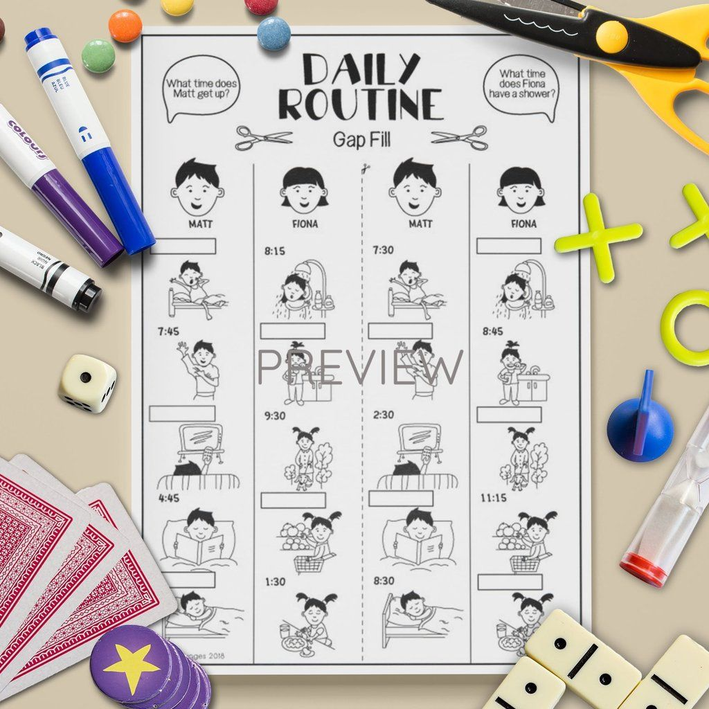 Daily Routine Gap Fill Game
