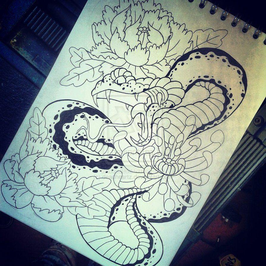 Japanese Snake Tattoo Drawings