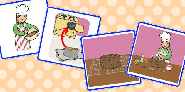 Cake making sequencing pictures