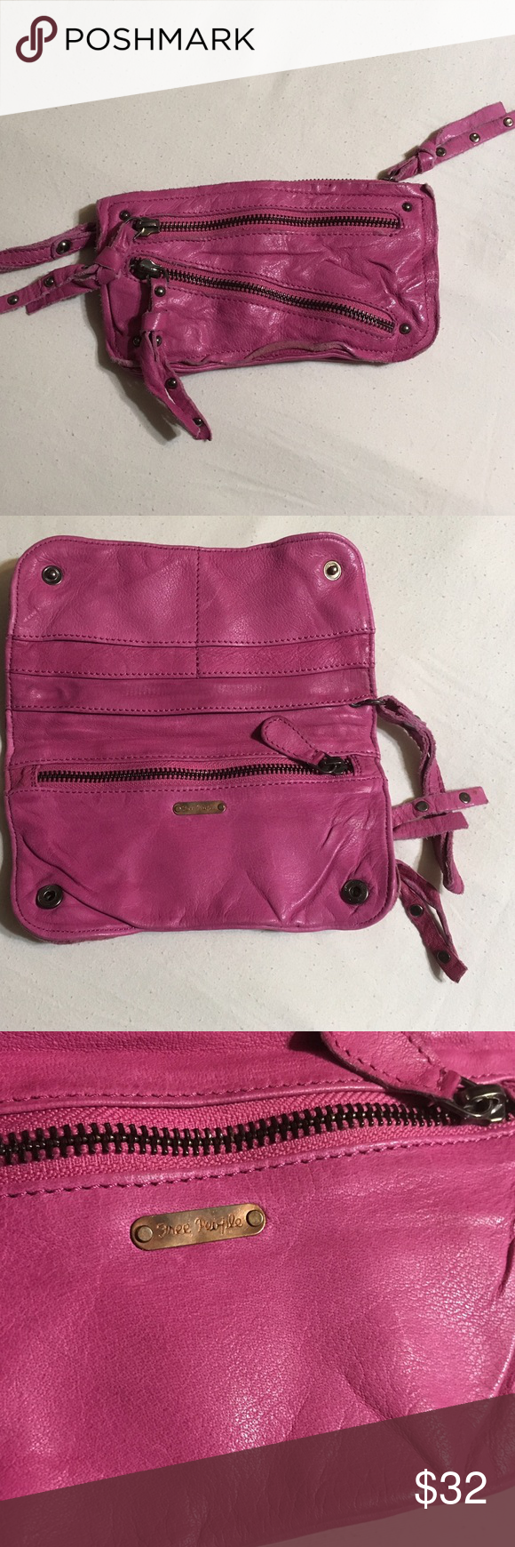 Free People Distressed Leather Wristlet Free People distressed leather wristlet / wallet with 3 exterior zip pockets, 6 interior pockets, soft pink leather with silver studs and fold over design. Color Pink. Material Leather. Measurements: 7.5 wide x 4 tall x 5 wrist strap. Free People Bags Clutches & Wristlets
