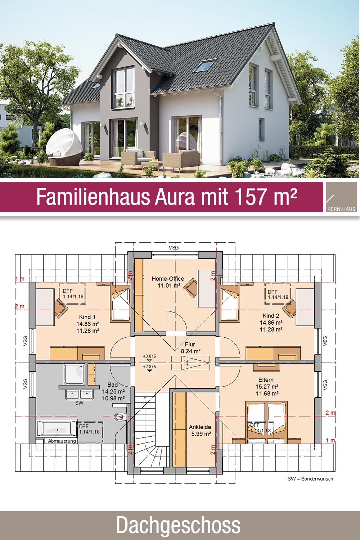Familienhaus Grundriss 157 m² 6 Zimmer Dachgeschoss