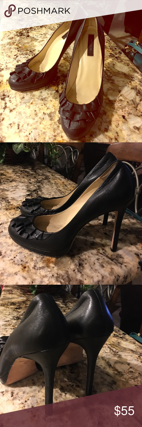 """Ann Taylor black pumps Ann Taylor black pumps with ruffles in the front. Beautiful and comfortable leather shoes. 4 1/2"""" heels. The marks inside the shoes come from the use but outside they are in excellent used condition. Ann Taylor Shoes Heels"""