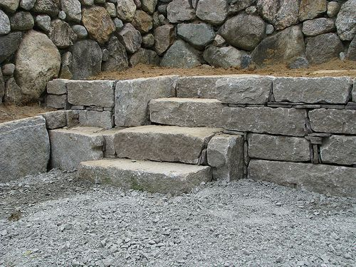 Reclaimed Antique Granite Retaining Wall Stairway Retaining Wall Landscape Steps Stone Wall